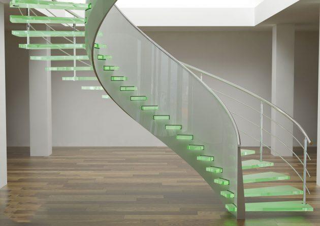پله شیشه ای گرد